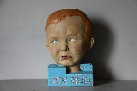 RARE French Mid Century Plaster Publicity Bust of a by maintenant