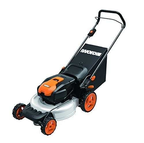 WORX WG770 36V 2-in-1 Cordless Mower with Single Lever Depth Setting, 19-Inch  The WORX WG770 36V 19-Inch 2-in-1 Cordless Mower with Single Lever Depth Setting mulches, bags and rear discharges. The WORX Intellicut technology knows just when to apply more power to cut thicker grass. The WG770 cuts up to 10,500 sq. feet/charge. The Steel cutting deck provides premium mulching capabilities. When you are not mowing with the WG770, the handle fully folds in and allows the mower to be sto..