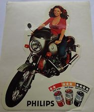 Aufkleber PHILIPS Batterien Mädchen auf BMW R90S Motorrad 70er Sticker Oldtimer