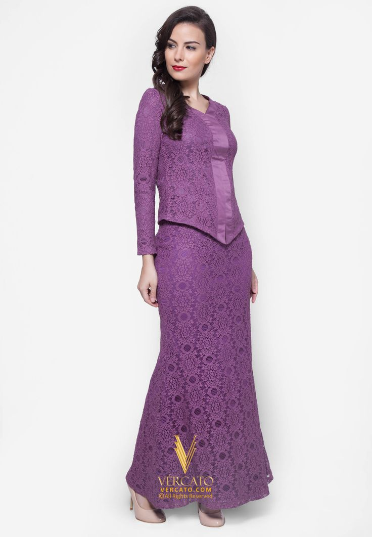 Baju Kebaya Lace - Vercato Ella in Purple. Buy sample and elegance kebaya Lace set. SHOP NOW: www.vercato.com.