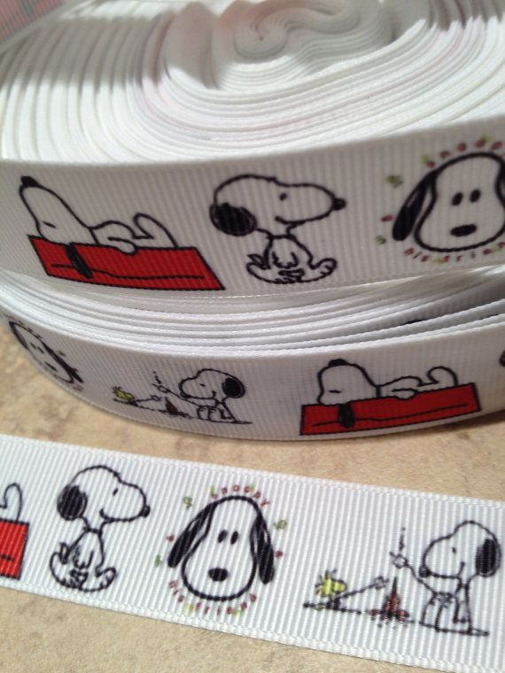 1 Yard of 7/8 Snoopy Inspired Grosgrain Ribbon by 123Bowtique, $1.10