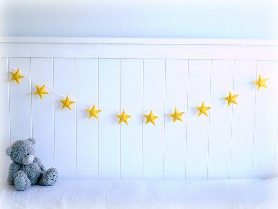 Star garland - felt star banner - yellow - Nursery decor - birthday decor - MADE TO ORDER