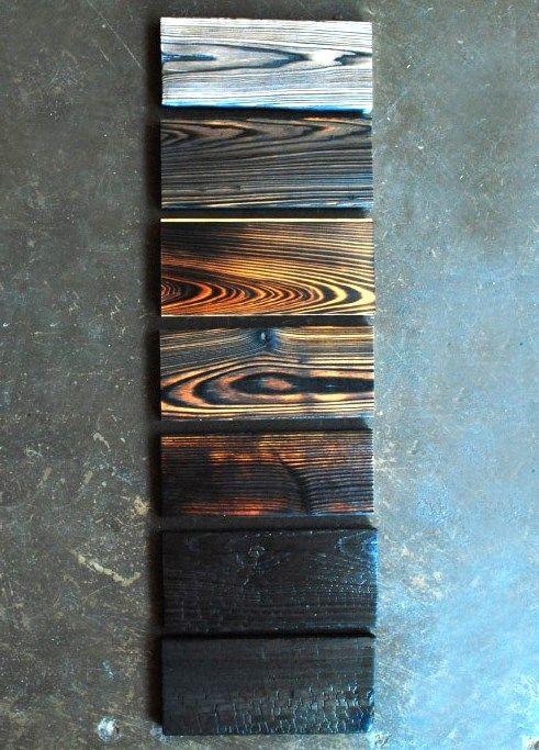 Wood burn gradient