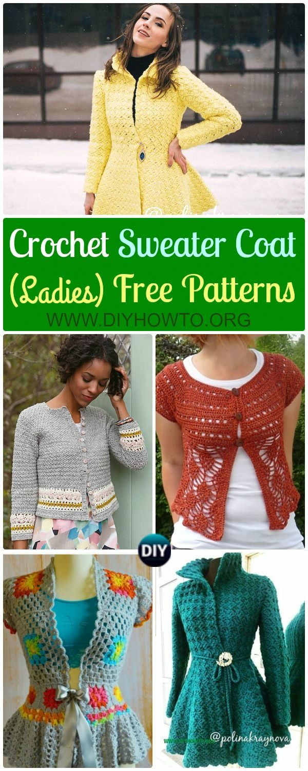 Crochet Women Sweater Coat Free Patterns [Open Front] via @diyhowto