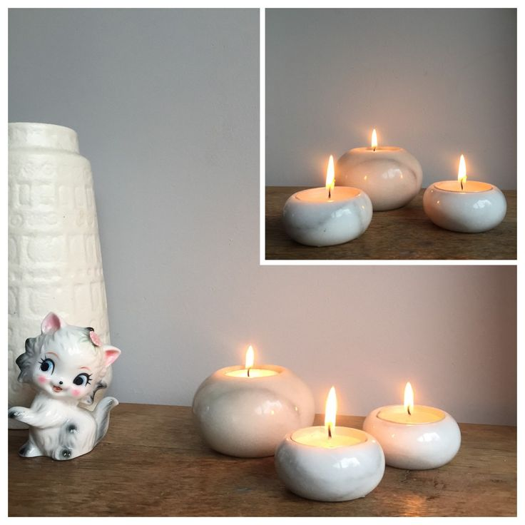 Newly listed white marble candle holders. Real eighties vintage home decor! Styling tip: combine with some copper, grey or soft colored interior items - by ChrisVintageStyle