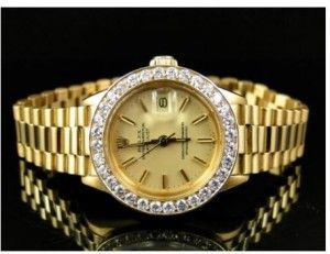 Pre-owned Ladies 18k Yellow Gold Rolex 27 Mm President Diamond Watch