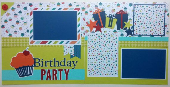 Scrapbooks premade pages 12x12 - Ohioscrapper - 12x12 premade scrapbook pages - Birthday scrapbook pages - 12x12 scrapbook pages birthday
