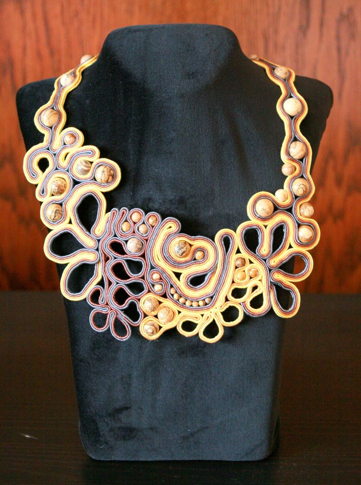 soutache necklace with jasper, pearls and toho beads