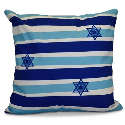 "The Holiday Aisle Hanukkah 2016 Decorative Holiday Striped Outdoor Throw Pillow Color: Light Blue, Size: 18"" H x 18"" W x 2"" D"