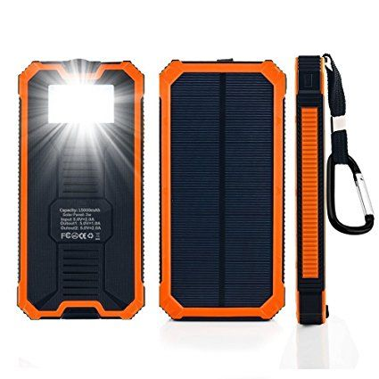 Solar Charger, 15600mAh Solar Power Bank Dual USB External Battery Charger Cell Phone Battery Pack with LED Flashlight for iPhone, iPad, Cell Phone, Tablet (Zenos Orange) Review 2017