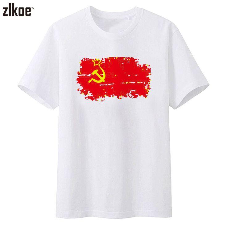 Fashion But Nostalgic Style Soviet Union Flag men's T-shirt Short White Color T shirts for Men Clothes #Affiliate
