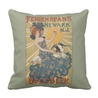 NYPL   Feigenspan's Bock Beer, Newark, NJ Throw Pillow