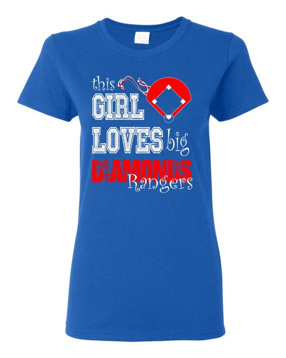 This Girl Loves big diamonds custom t shirt.  White and red screen printed design on a royal blue t shirt. Free Shipping!