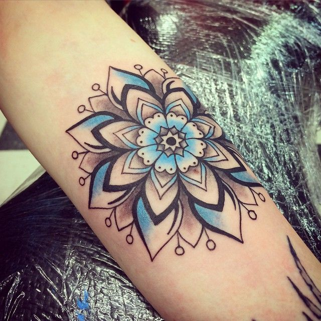tattoo by eva perez. Instagram: art_by_eva #mandala #tattoo #flower #snowflake…