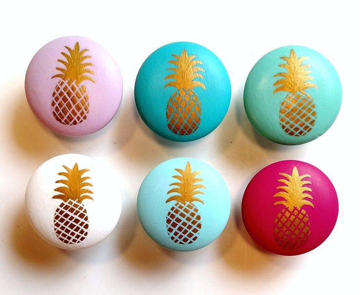 Gold Pineapple Drawer Knob, Custom Pineapple Drawer Pull, Pineapple Decor, Gold Pineapple by VioletValeDesigns on Etsy https://www.etsy.com/listing/469734167/gold-pineapple-drawer-knob-custom