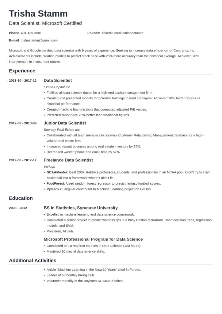 Big Data Resume 2021 Data Scientist Big Data Resume