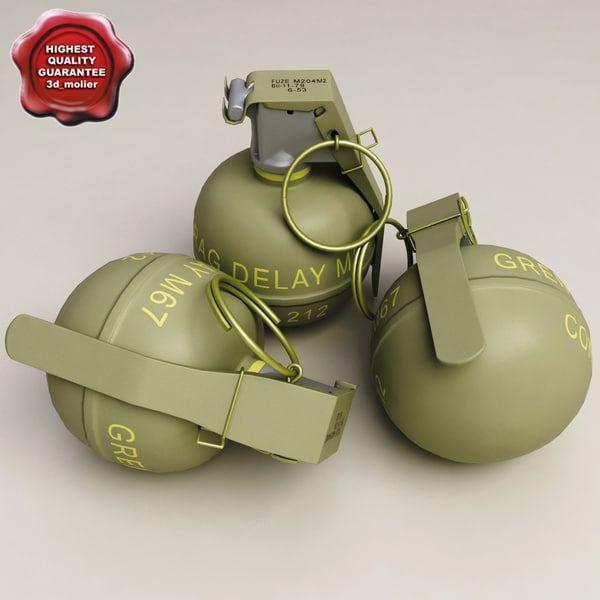 M67 Grenade 3D 3Ds - 3D Model