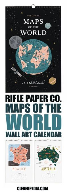 This beautiful calendar by Rifle Paper Co. features maps of different countries for each month of the year. The Maps of the World calendar uses a limited color palette, and includes famous landmarks and cities. The countries/regions included are Italy, Scandinavia, the United States of America, France, Argentina, Australia, Mexico, Kenya, China, Japan, the British Isles, and Iceland.