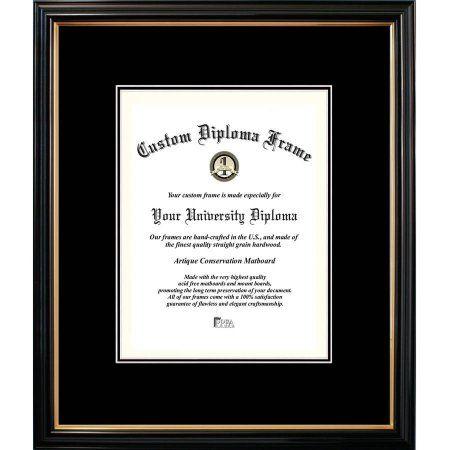 Campus Images 8x10 Petite Black Gold Trim, Double Black Mats, Certificate Frame