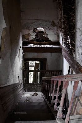 Interior. Abandoned cottage known as the Brazilian House, Frazao, Portugal.