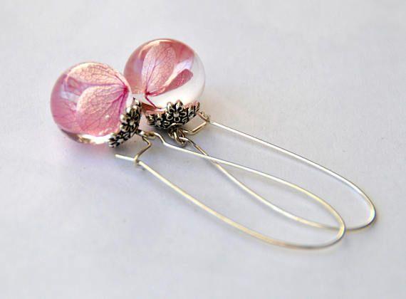 Orecchini in sfera di resina, fiori veri, inclusione, in viola, gioielli della natura