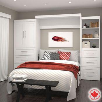 #Bestar – Mobilier Boutique 3 pièces à grand lit escamotable blanc