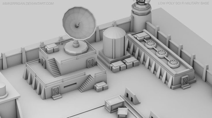 Low Poly / Sci fi Military Base / 03 by MMKerrigan