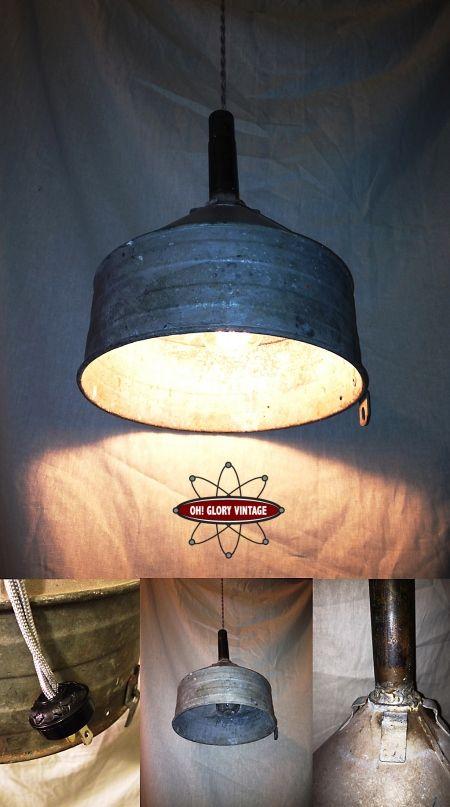repurposed lighting. swag lamp made from a repurposed galvanized funnel lighting h