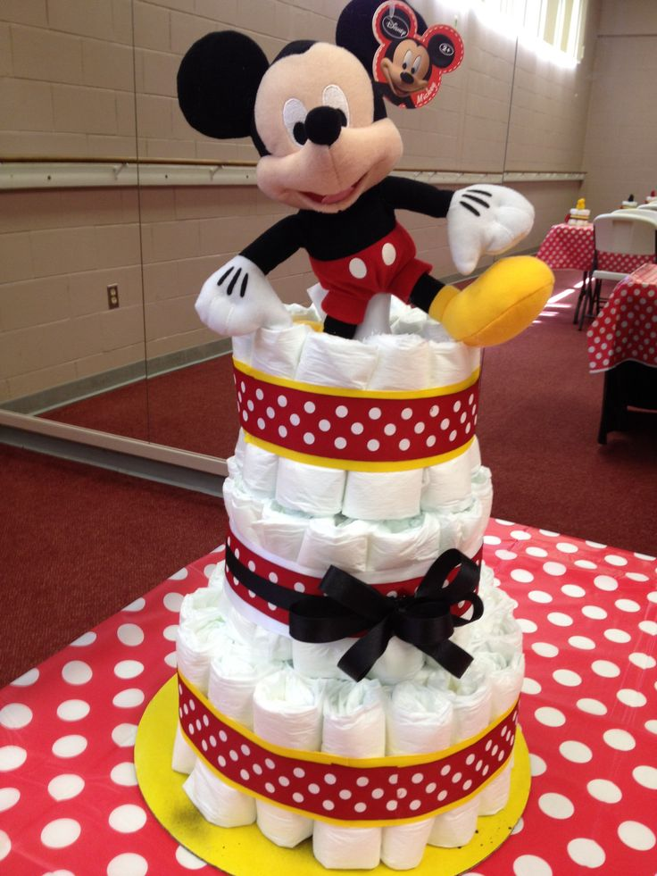 Mickey Mouse Diaper Cake by KShack.   Yellow, Red, and Black