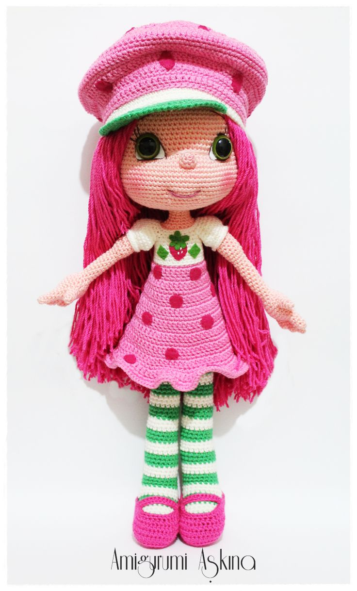 Amigurumi Strawberry Girl http://amigurumiaskina.blogspot.com.tr/2014/03/amigurumi-cilek-kz-strawberry-girl.html