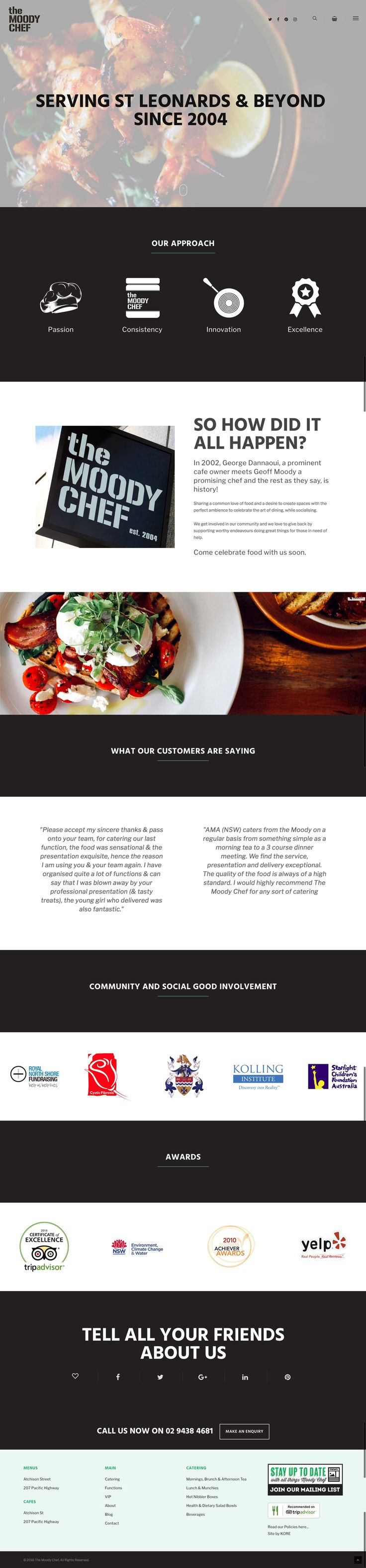 The Moody Chef's new responsive website by KORE (http://kore.digital/). About web page view.