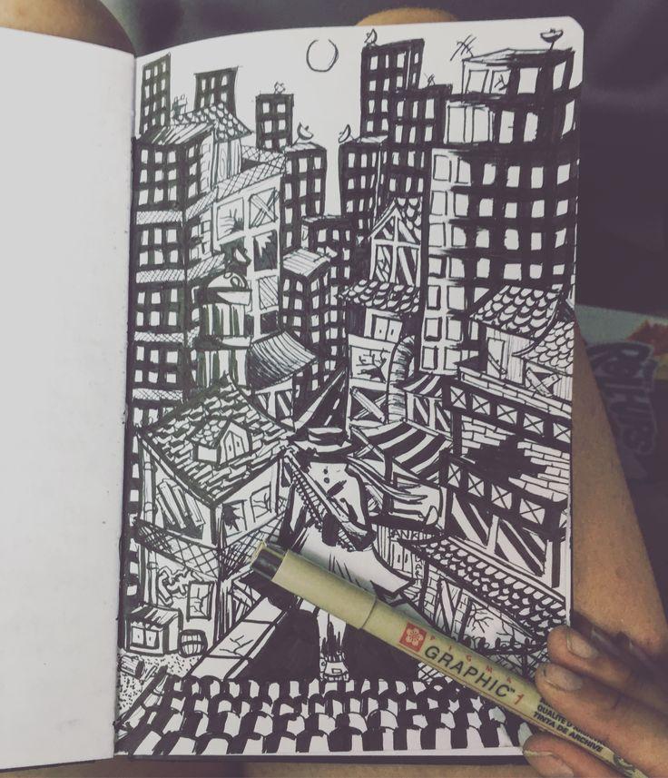 Black and white scene