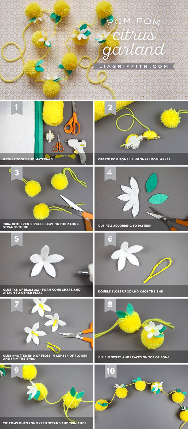 This simple project from Lia Griffith is easy and fun to make! Click in to learn how to DIY the lemon pom pom garland backdrop. We think it would be perfect for a spring kid's birthday party!