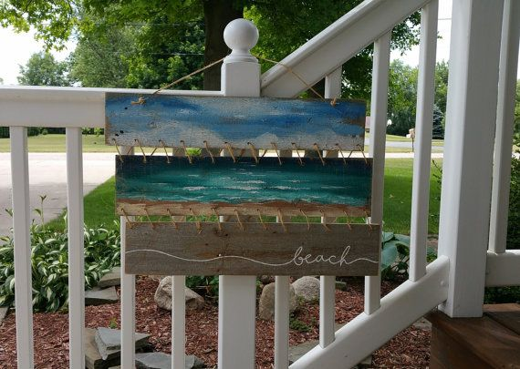 Arte di spiaggia Pallet pittura paesaggio di TheWhiteBirchStudio