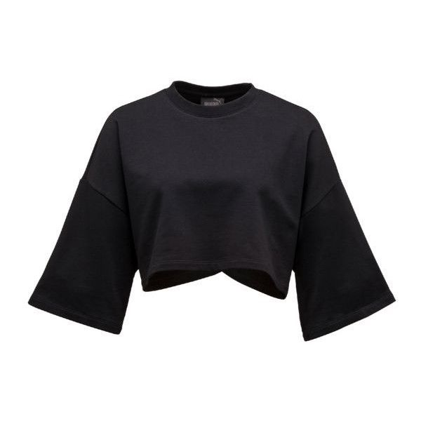 CROPPED CREW NECK T-SHIRT (210 RON) ❤ liked on Polyvore featuring tops, t-shirts, crop t shirt, crew neck crop top, sleeve top, crop top and crew neck t shirt