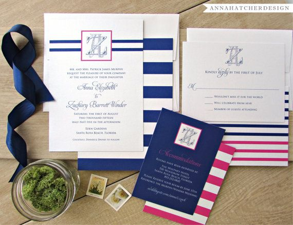 Nautical Wedding Collection - Invitation, Reply Card, Enclosure Card - Navy and Pink - FREE Shipping, FREE Printed Proof - Nautical Wedding Invitation - Nautical Stripes - Monogram