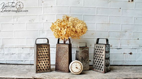 Vintage Rustic Graters  Set of 4  Instant Kitchen by KnickofTime
