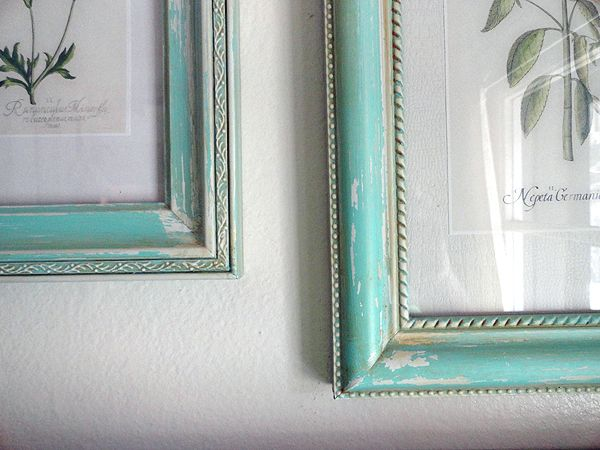 """5 dollar Walmart frames painted and """"aged"""