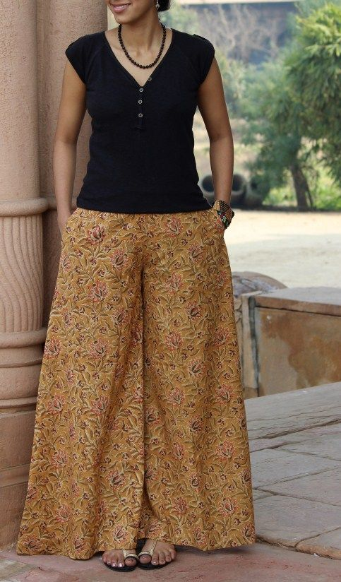 Handprinted extra flared palazzo pants in delightful Kalamkari prints