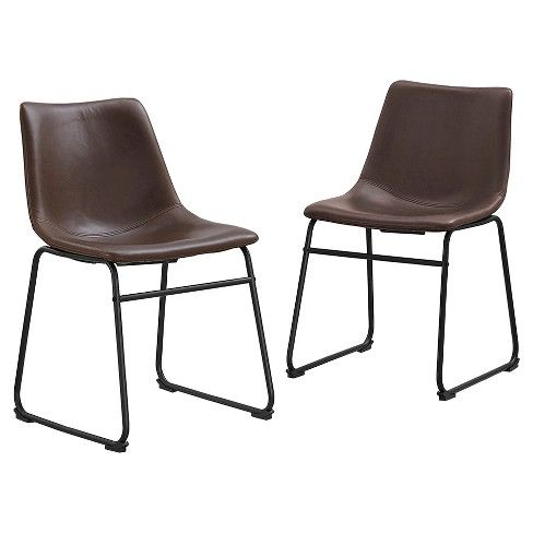 Superb Faux Leather Dining Kitchen Chairs Set Of 2 Brown Bralicious Painted Fabric Chair Ideas Braliciousco