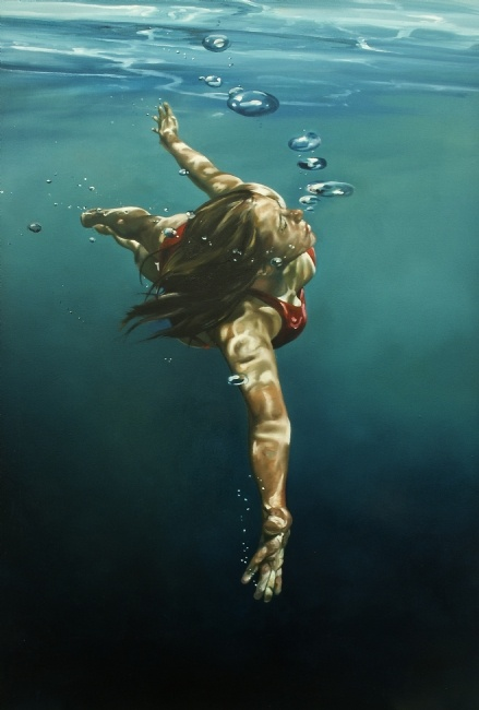 Eric Zener: title unknown [girl in slow exploration underwater]; oils on canvas. Hyper-realistic style.