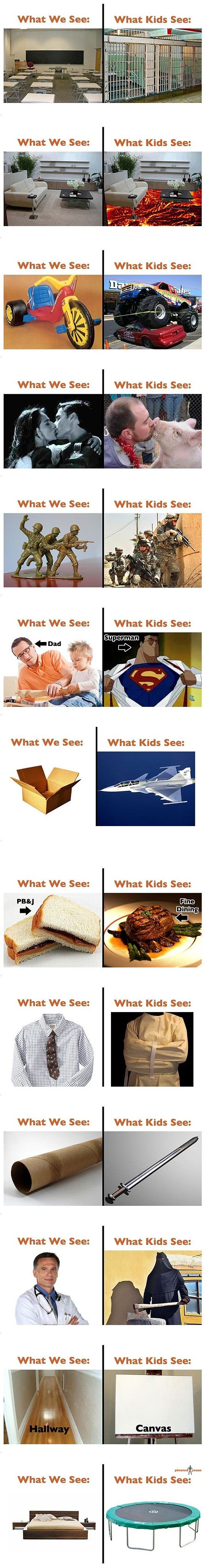 What we see vs. what kids see  Wow, I'm glad to know that some of these things I still perceive with a child's perception.  Now if I can only figure out how to get from the big chair to the back door without landing in the lava!
