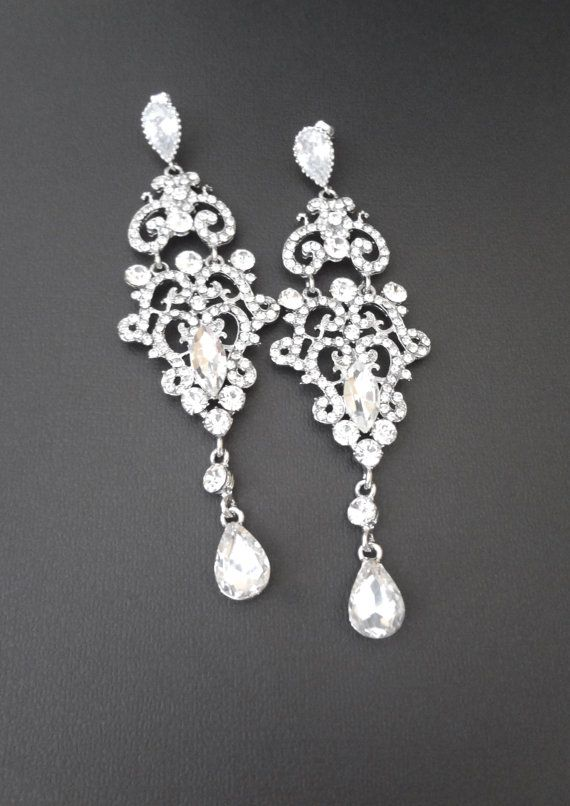 Long chandelier earrings Rhinestone earrings by QueenMeJewelryLLC