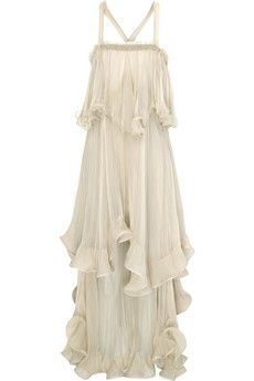 ChloéSilk-chiffon tiered ruffle dress/ greek goddess