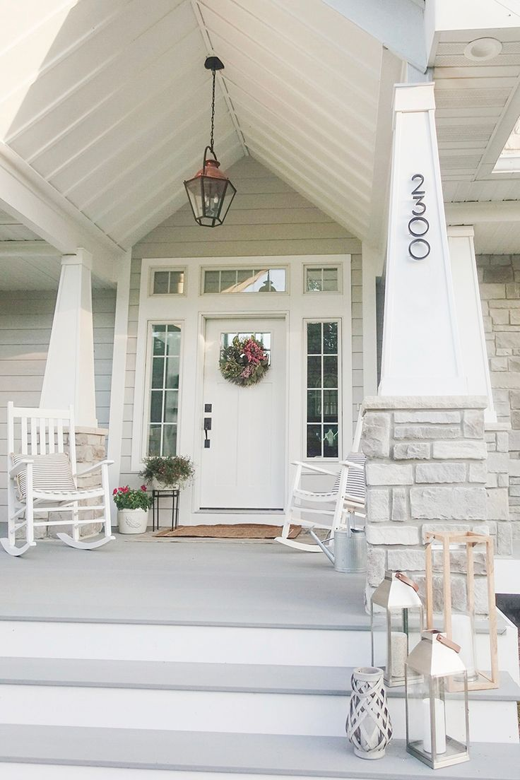 Porch Ceiling Painted Black Light Grey Siding House Exterior Exterior House Colors House Colors