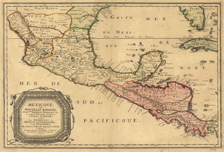 1656 map of central america and mexico showing many modern place names and boundaries