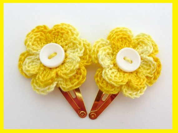 2 Crochet flower hair clips ideal stocking by MyfanwysMakes, £2.50