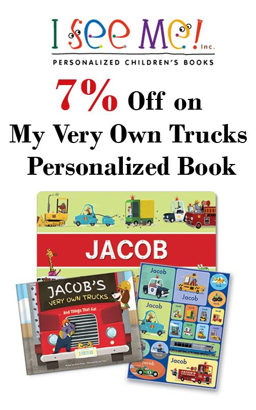 Now you can get 7% discount on My Very Own Trucks Personalized Book from I See Me. Avail this offer before it end. For moreI See Me Coupon Codes visit: http://www.couponcutcode.com/coupons/7-off-trucks-personalized-book/