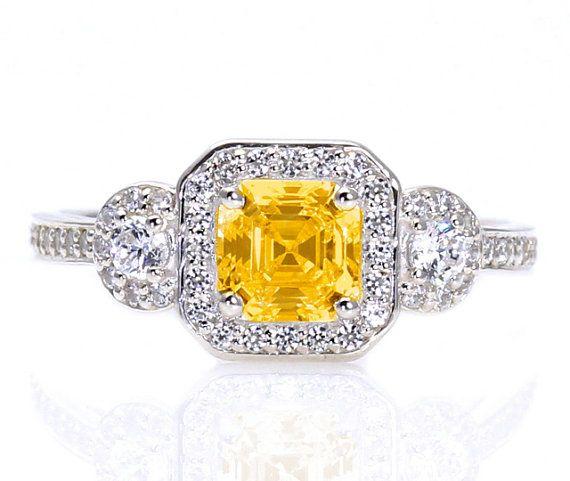 Asscher Yellow Sapphire Engagement Ring Assher Diamond Halo Sapphire Ring Custom Engagement Ring via Etsy