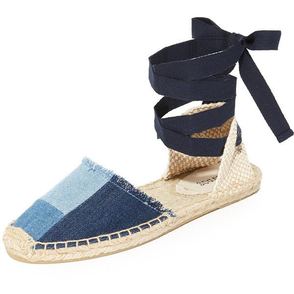 Soludos Patchwork Espadrille Sandals (€39) ❤ liked on Polyvore featuring shoes, sandals, denim, soludos sandals, ankle tie sandals, ankle wrap shoes, ankle wrap espadrille and espadrille sandals